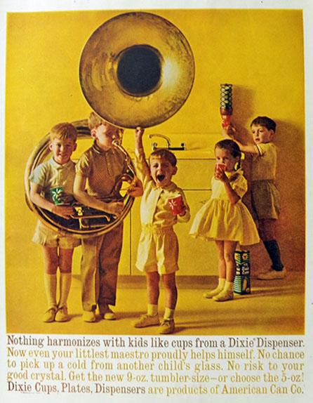 Beautiful 1960 Vintage Dixie Cup Ad ~ Sousaphone Tuba, Vintage Household Ads ZL57