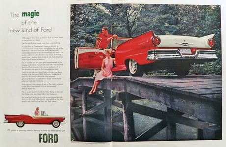 1957 Ford Fairlane Sunliner Convertible Ad ~ 2 Pages