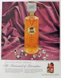 1959 Four Roses Whiskey Ad ~ Diamond-Point Decanter