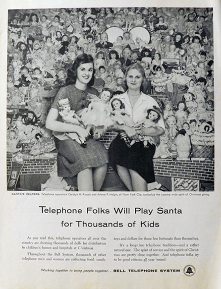 1957 Bell Telephone Ad ~ Operators Distribute Dolls for Christmas