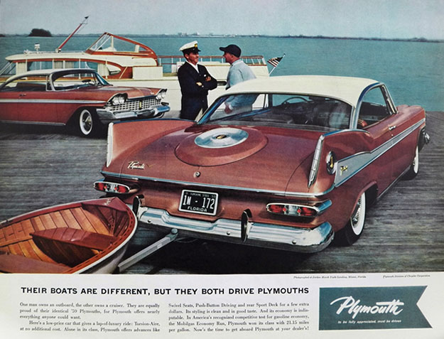1959 Plymouth Fury Ad ~ Their Boats Are Different . . .