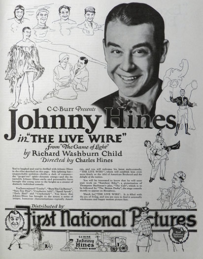 1925 Movie Ad ~ Johnny Hines ~ The Live Wire