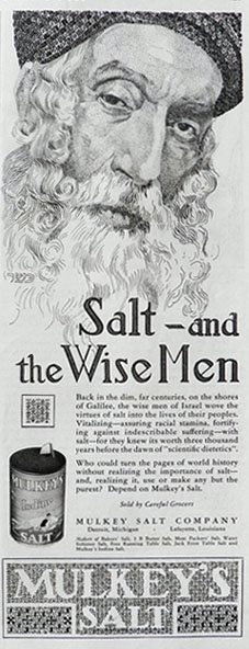 1928 Mulkey's Salt Ad ~ Salt & The Wise Men