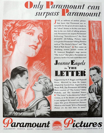 1929 Movie Ad ~ The Letter ~ Jeanne Eagels