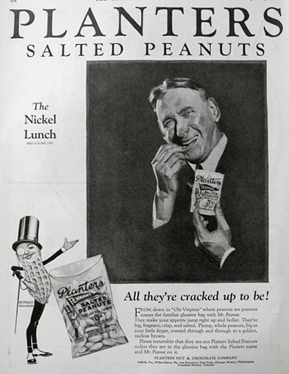1927 Planters Pennant Peanuts Ad ~ All They're Cracked Up To Be