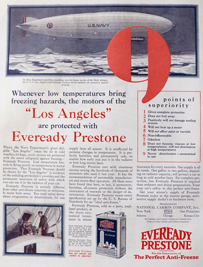 "1928 Eveready Prestone Anti-Freeze Ad ~ Navy Dirigible ""Los Angeles"""