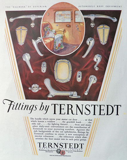 1929 Ternstedt Automobile Fittings Ad ~ Handles, Fixtures, etc.