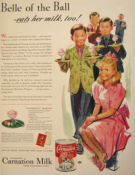 1942 Carnation Milk Ad ~ Peppermint Mousse Recipe