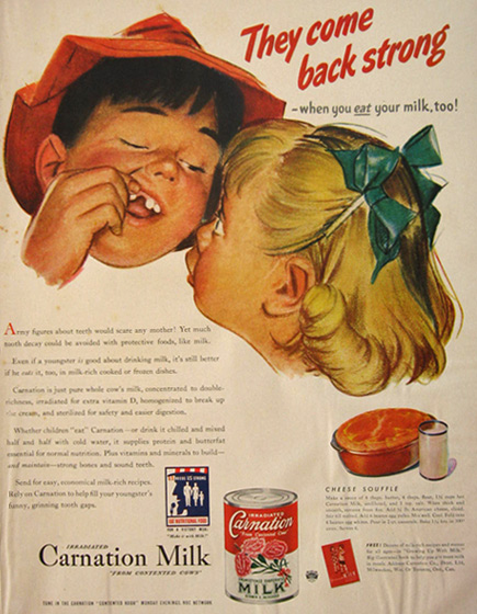 1942 Carnation Milk Ad ~ Boy's Missing Tooth