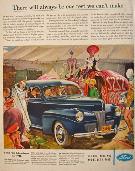 1941 Ford Super Deluxe Ad ~ At the Circus