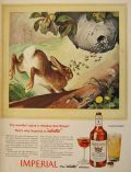 1943 Imperial Whiskey Ad ~ Hare & Wasp Nest