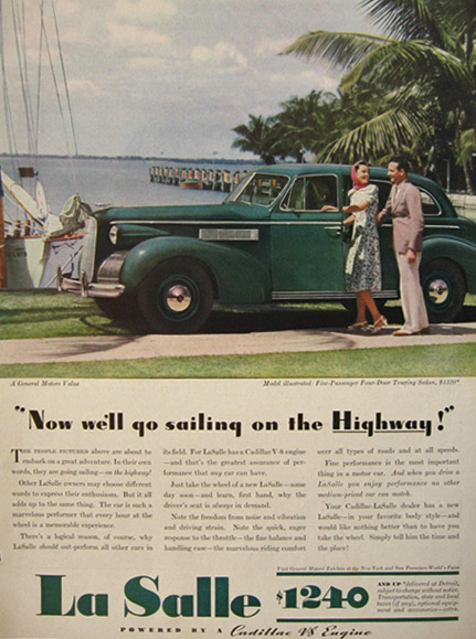 1939 Cadillac La Salle Touring Sedan Ad ~ Sailing on the Highway