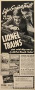 1939 Lionel Trains Ad ~ Life's Greatest Thrill