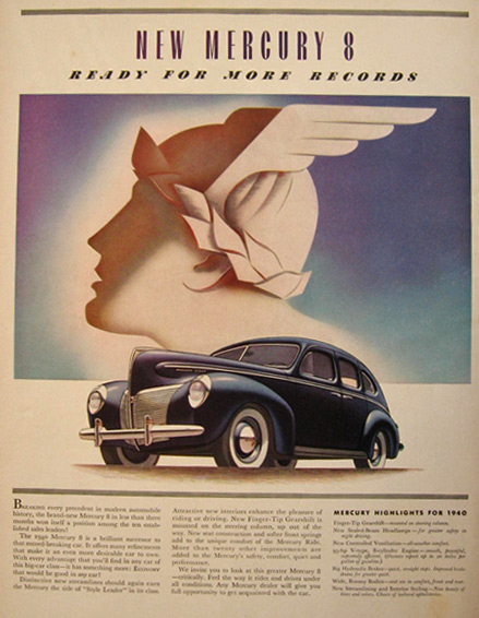 1940 Mercury 8 Deco Car Ad