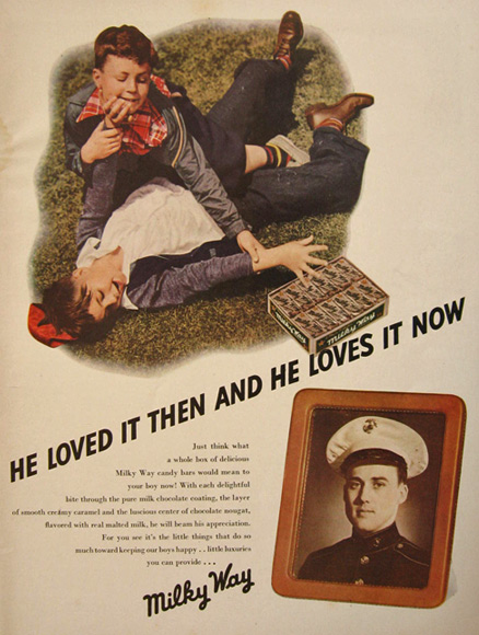 1942 Milky Way Ad ~ He Loved It Then