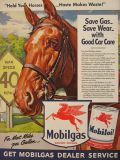 1942 Mobil Ad ~ Hold Your Horses