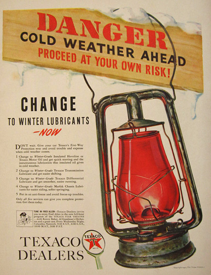 1940 Vintage Texaco Ad ~ Red Globe Railroad Lantern
