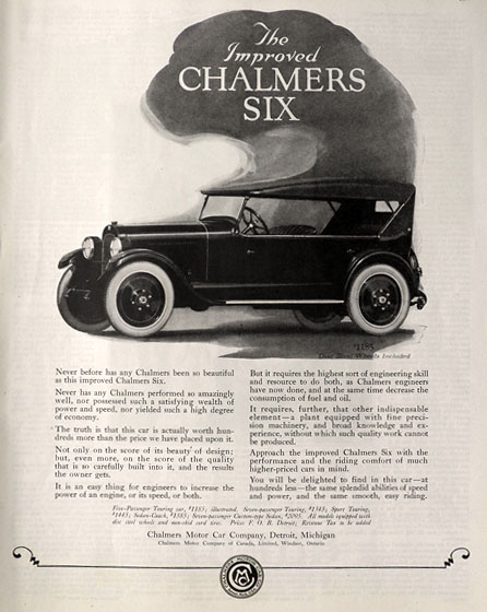 1923 Chalmers Six Ad ~ Improved