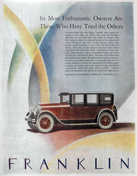 1926 Franklin Car Ad ~ Enthusiastic Owners