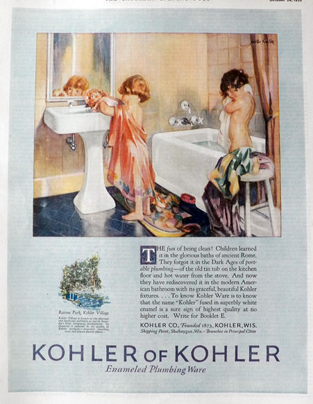 1925 Kohler Plumbing Ad ~ Kids at Bath Time, Vintage Hardware ...