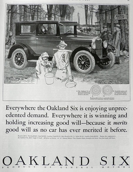 1926 Oakland Six Car Ad ~ Unprecedented Demand