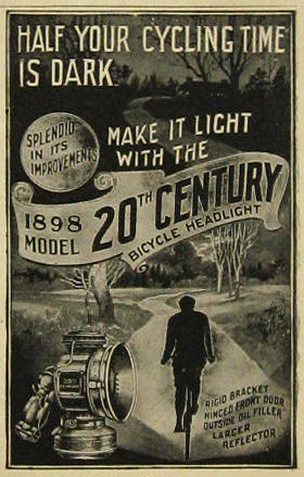 1898 20th Century Bicycle Headlight Lamp Ad