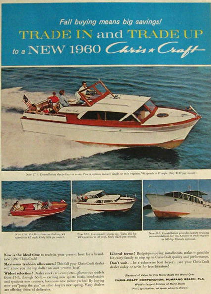 1960 Chris Craft Boat Ad~ Constellation