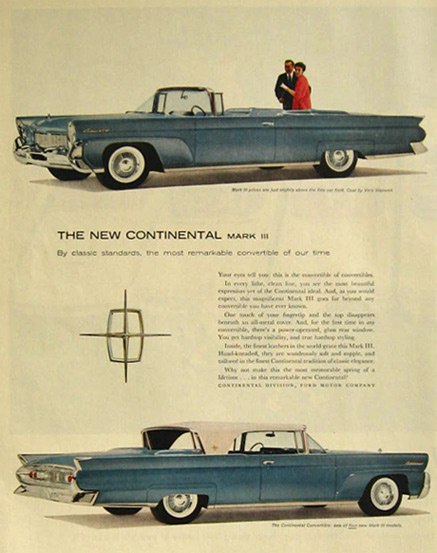 1958 Continental Mark III Convertible Ad ~ Powder Blue