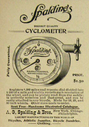 1896 Spalding Bicycle Cyclometer Ad