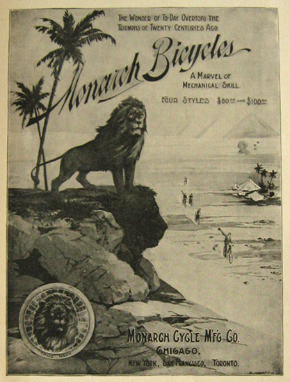 1896 Monarch Bicycle Ad ~ Lion on Beach