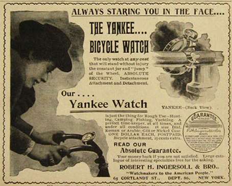1897 Antique Ingersoll Yankee Bicycle Watch Ad