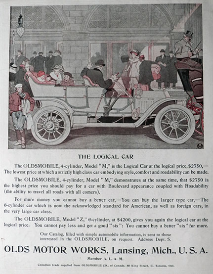 "1908 Oldsmobile Model ""M"" Ad ~ Logical Car"