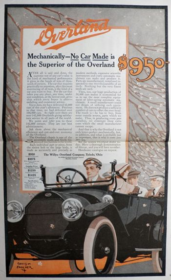 1914 Willys Overland Ad ~ Louis Fancher Art ~ 2 Pages