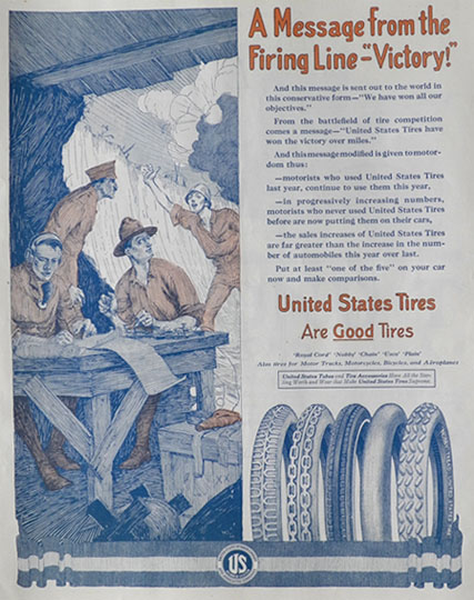 1917 U.S. Tires Ad ~ Message From the Firing Line
