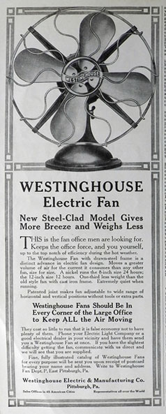 1912 Westinghouse Electric Fan Ad Steel Clad Model