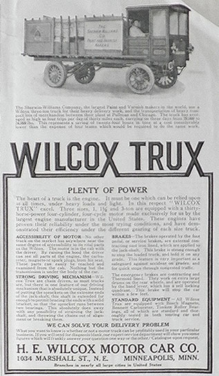 1911 Wilcox Trux Ad ~ Sherwin Williams Truck