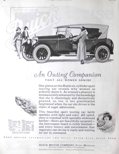 1923 Buick 6 Cylinder Touring Car Ad ~ An Outing Companion