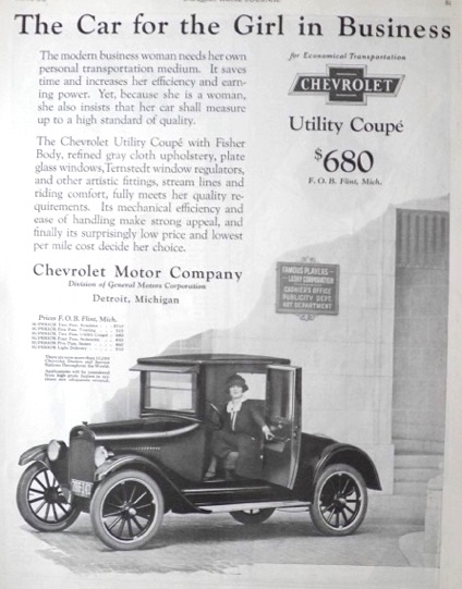 1923 Chevy Utility Coupe Ad ~ For the Girl in Business
