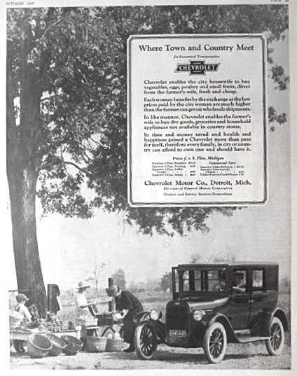 1923 Chevy Ad ~ Where Town & Country Meet