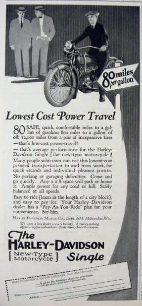 1926 Harley Davidson Ad ~ New Type Single