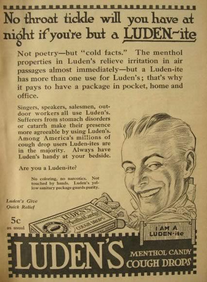"1917 Luden's Cough Drop Ad ~ I am a ""Luden-ite"""