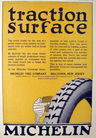 1919 Michelin Tire Ad ~ Traction Surface