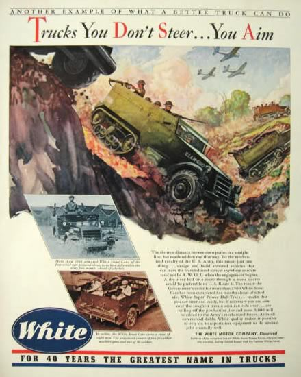 1942 WWII White Army Trucks Ad ~  Scout Car Photo