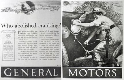 1926 General Motors Car Ad ~ Who Abolished Cranking?