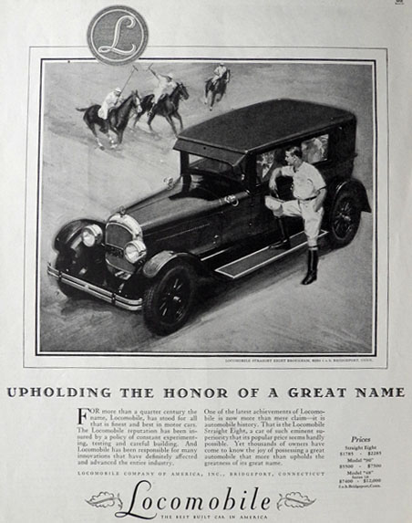 1926 Locomobile Straight Eight Ad ~ A Great Name