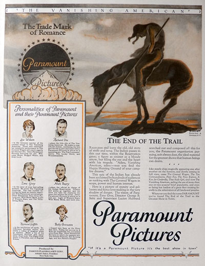 1926 Paramount Pictures Ad ~ The Vanishing American