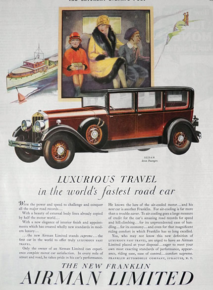 1928 Franklin Airman Car Ad ~ Luxurious Travel