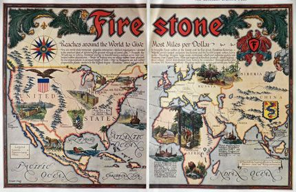 1928 Firestone Tires Ad ~ World Map of Factories ~ Ernest Clegg