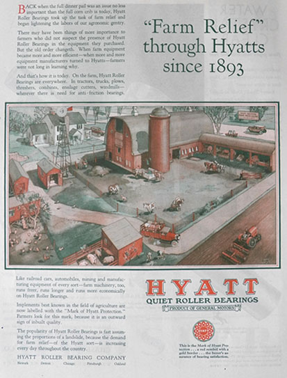 1929 Hyatt Roller Bearings Ad ~ Farm Scene