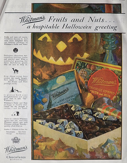 1928 Whitman's Candy Ad ~ Halloween Greeting